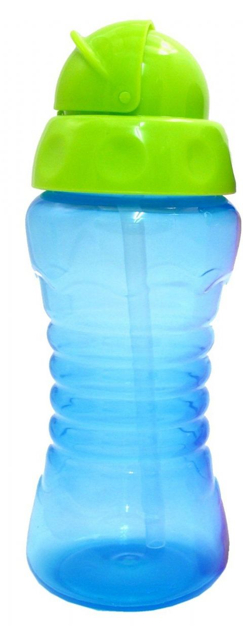 Griptight - Flexi Soft Silicone Straw Sipper Flip Top Bottle Cup (Blue/Green)